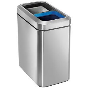 simplehuman ゴミ箱 分別スリムオープンカン 20L CW1470 ステンレス シンプルヒューマン 正規品 1年間メーカー保証付き ゴミ箱 20L分別ゴミ箱(10L/10L) back