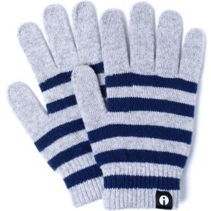 【2500円以上で送料無料】手袋 iTouch Gloves Stripe S アイタッチグローブ ストライプ Sサイズ レディース ライトグレー/ネイビー|back