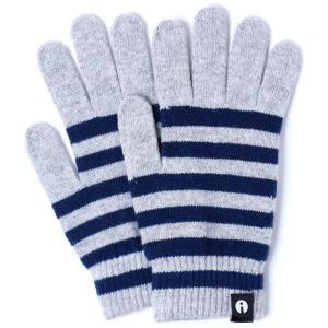 【2500円以上で送料無料】手袋 iTouch Gloves Stripe L アイタッチグローブ ストライプ Lサイズ メンズ ライトグレー/ネイビー|back