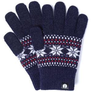 【2500円以上で送料無料】手袋 iTouch Gloves Patterns S アイタッチグローブ パターン Sサイズ レディース ジャカード ネイビー|back