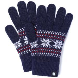 【2500円以上で送料無料】手袋 iTouch Gloves Patterns L アイタッチグローブ パターン Lサイズ メンズ ジャカード ネイビー|back