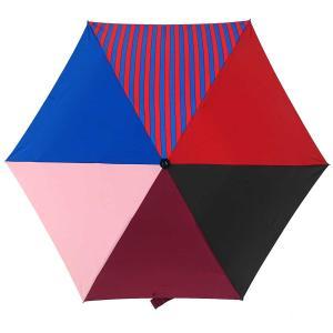 折りたたみ傘 +RING coco Mサイズ 55cm レディース メンズ おしゃれ プラスリング 折傘 男女兼用 T483 ストライプ レッド ブルー|back