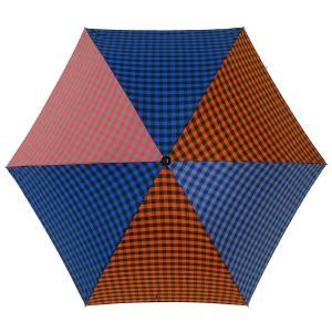 折りたたみ傘 +RING coco Mサイズ 55cm レディース メンズ おしゃれ プラスリング 折傘 男女兼用 T488 ギンガムチェック ブルー レッド|back