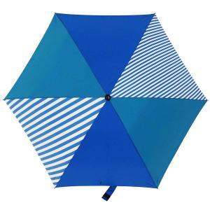 折りたたみ傘 +RING coco Mサイズ 55cm レディース メンズ おしゃれ プラスリング 折傘 男女兼用 T480 ストライプ ブルー|back