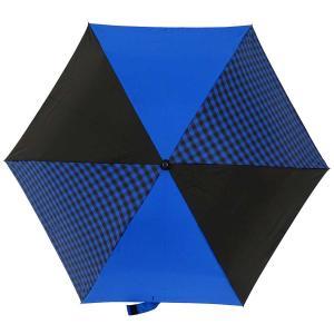 折りたたみ傘 +RING coco Mサイズ 55cm レディース メンズ おしゃれ プラスリング 折傘 男女兼用 T485 ギンガムチェック ブルー ブラック|back