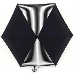 折りたたみ傘 +RING coco Mサイズ 54cm レディース メンズ おしゃれ プラスリング 折傘 男女兼用 T576 ストライプ ブラック ホワイト|back