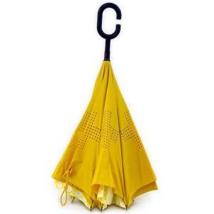 傘 +RING coco 逆さに開く傘 60cm レディース おしゃれ プラスリング 長傘 逆さ傘 さかさま傘 T592 イエロー|back