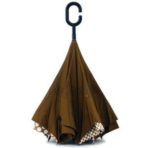 傘 +RING coco 逆さに開く傘 60cm レディース おしゃれ プラスリング 長傘 逆さ傘 さかさま傘 T593 ブラウン|back