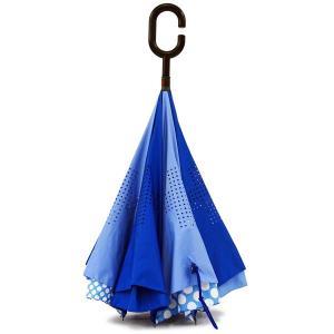 傘 +RING coco 逆さに開く傘 60cm レディース おしゃれ プラスリング 長傘 逆さ傘 さかさま傘 T594 ブルー|back