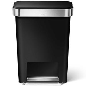 simplehuman ゴミ箱 プラスチックレクタンギュラーステップカン 45L ふた付き ペダル シンプルヒューマン 正規品 メーカー保証付き 角型ゴミ箱 CW1385 ブラック back