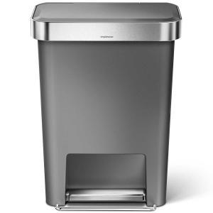 simplehuman ゴミ箱 プラスチックレクタンギュラーステップカン 45L ふた付き ペダル シンプルヒューマン 正規品 メーカー保証付き 角型ゴミ箱 CW1386 グレー back