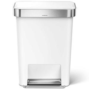 simplehuman ゴミ箱 プラスチックレクタンギュラーステップカン 45L ふた付き ペダル シンプルヒューマン 正規品 メーカー保証付き 角型ゴミ箱 CW1387 ホワイト back