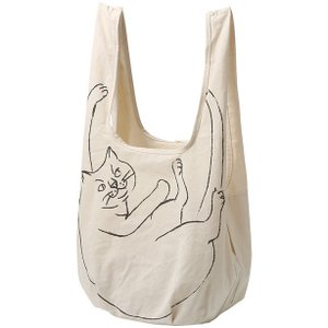 猫イラスト ROOTOTE EU.ルーショッパーグランデ.マルシェ-A エコバッグ ショッピングバッグ ルートート ROO-shopper Grande 2261 ナチュラル|back