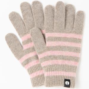 スマホ手袋 アイタッチグローブ Sサイズ 2019-2020新作 スマホ対応手袋 iTouch Gloves レディースサイズ ストライプ ベージュxピンク|back