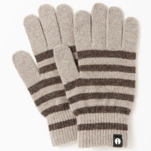 スマホ手袋 アイタッチグローブ Lサイズ 2019-2020新作 スマホ対応手袋 iTouch Gloves メンズサイズ ストライプ ベージュxブラウン|back