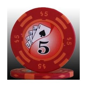 フォースポット ポーカーチップ (5 $) 20枚セット -カジノ、ポーカー用|badenbaden