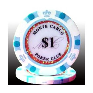 カジノチップ ポーカーチップ モンテカルロ ポーカーチップ(1)白 25枚セット badenbaden