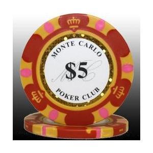 カジノ ポーカーチップ モンテカルロ ポーカーチップ 5 赤 25枚セット badenbaden