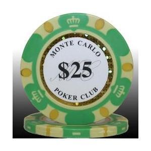 カジノ ポーカーチップ モンテカルロ ポーカーチップ(25)緑 25枚セット