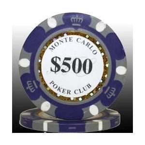 モンテカルロ ポーカーチップ(500)青紫 25枚セット - カジノ、ポーカー用|badenbaden