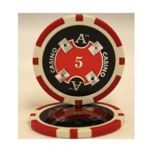 QuattroAssi クアトロアッシーポーカーチップ (5)赤 25枚セット -  - カジノチップ、ポーカーチップ|badenbaden