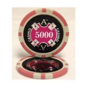 QuattroAssi クアトロアッシーポーカーチップ (5000)桃 25枚セット -カジノチップ...