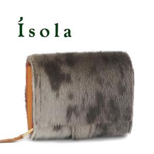 アイソラ 財布 isola 折り財布 コロコロ ジャバラ ヘアカーフ アザラシ 本革 7401|bag-danjo