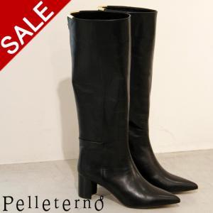 ペレテルノ ブーツ Pelleterno ロングブーツ ヒール レディース ポインテッドトゥ 本革 角金 ブラック 黒 ap-5|bag-danjo