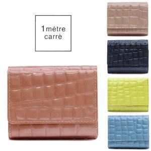 アンメートルキャレ 1 metre carre / コンパクト財布 レディース 三つ折り 本革 エナメル クロコ型押し パール ae30722|bag-danjo