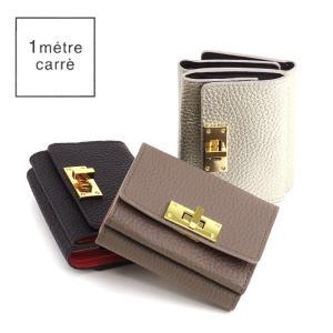アンメートルキャレ 1 metre carre / コンパクト財布 レディース 三つ折り 本革 ゴールド金具 br30717|bag-danjo