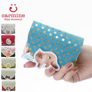 カーマイン carmine コンパクト財布 折り財布 猫 アニマル レディース 豚革 cwa|bag-danjo