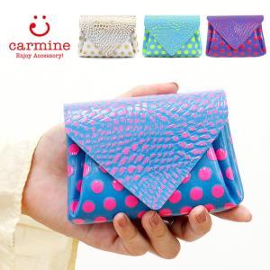 カーマイン 財布 carmine ミニ財布 コンパクト ミニウォレット レザー ドット バード ネオンカラー レディース mwbd|bag-danjo