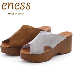 50%OFF / eness エネス サンダル レディース ウェッジ 厚底 ウッド スエード 201622|bag-danjo