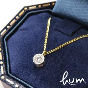 hum ハム / ネックレス ダイヤモンド diamond 0.02ct K18 GG グリーンゴールド プラチナ lace la-n167spt bag-danjo