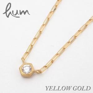 hum ハム / ネックレス レディース ダイヤモンド diamond 0.1ct K18 YG イエローゴールド 六角形 lace la-n234s bag-danjo