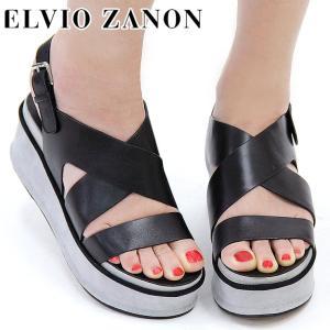 50%OFF / ELVIO ZANON エルビオ ザノン サンダル レディース 厚底 ウェッジ バックストラップ 本革 レザー 0102n|bag-danjo