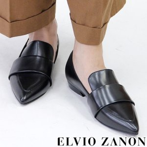 ELVIO ZANON エルビオ ザノン ローファー レディース フラット マニッシュシューズ 本革 レザー ブラック 黒 2401x|bag-danjo