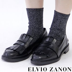 ELVIO ZANON エルビオ ザノン ローファー レディース フラット マニッシュ 本革 レザー ブラック 黒 3004x|bag-danjo