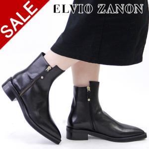 エルビオザノン ブーツ ELVIO ZANON ショートブーツ レディース 本革 ポインテッドトゥ ブラック 黒 3204p|bag-danjo