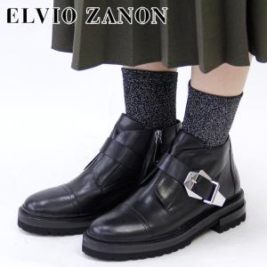 エルビオザノン ブーツ ELVIO ZANON ショートブーツ エンジニアブーツ レディース 本革 ブラック 黒 3401n|bag-danjo
