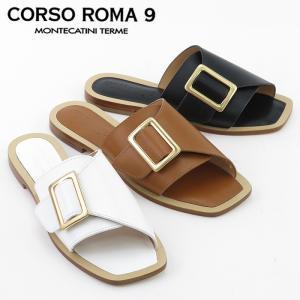CORSO ROMA 9 サンダル コルソローマノーヴェ フラット ストラップ ベルト 本革 春夏 レディース 012/v bag-danjo