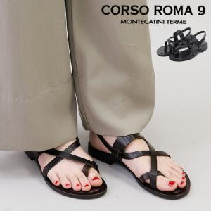 CORSO ROMA 9 サンダル コルソローマノーヴェ フラット トング ストラップ ベルト 本革 春夏 レディース 09/a bag-danjo