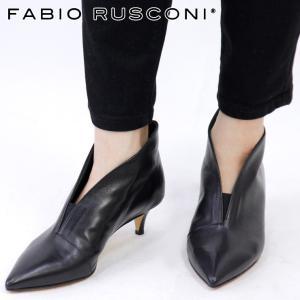 ファビオルスコーニ ブーツ ショートブーツ fabio rusconi ブーティー レディース ヒール ポインテッドトゥ 本革 ブラック 黒 1158|bag-danjo