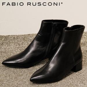 ファビオルスコーニ ブーツ ショートブーツ fabio rusconi レディース ヒール ポインテッドトゥ 本革 ブラック 黒 4402|bag-danjo