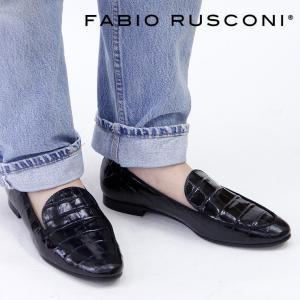 ファビオルスコーニ ローファー fabio rusconi フラット オペラシューズ レディース クロコ型押し レザー 本革 4990|bag-danjo