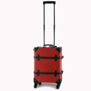 PU・テキソン素材4輪クラシックトランク型キャリーケース レッド|bag-luggage-fujiya