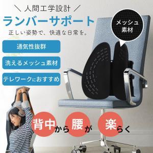腰枕 背もたれクッション ランバーサポート 人間工学 椅子 デスクチェア 腰痛 姿勢 対策 メッシュ...