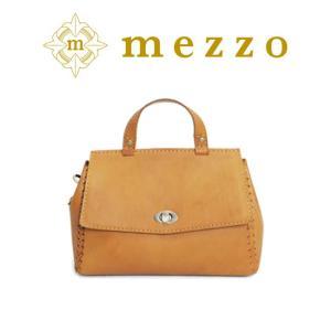 メゾ バッグ アクセントに入る革紐のかがりが愛らしい表情とレトロな風合いの上質なハンドバッグ bag-sonrisa