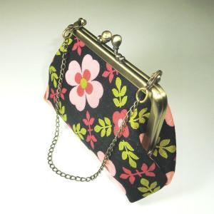 チェーン付がま口ポーチ ブラックピンク|bag-tantan