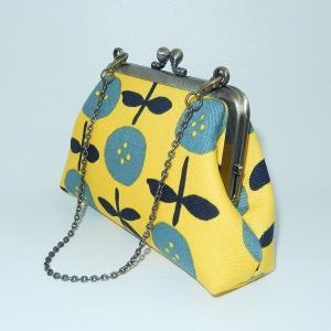 チェーン付がま口ポーチ 黄色花|bag-tantan